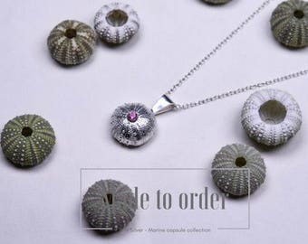 Silver and pink tourmaline sea urchin pendant