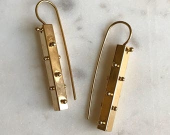 14k gold plated spine earrings