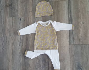 neutral baby layette set, neutral Newborn take home outfit, 0-3months neutral baby clothes,spring baby clothes, homecoming spring outfit