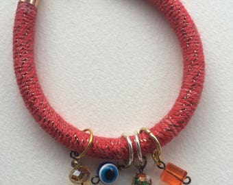 Unique handmade bracelet , boho, red, bangle