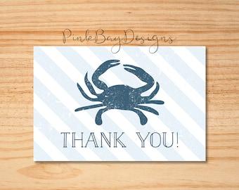 Nautical Thank You Card, Nautical Crab Thank You Card, Instant Download, Crab Thank You Card, Blue Stripe Thank You Card, Thank You Insert