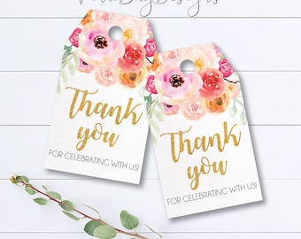 Watercolor Floral Thank You Tags, Baby Shower Thank You, Floral Thank You Tags, Bridal Shower Thank You Tag, Instant Download