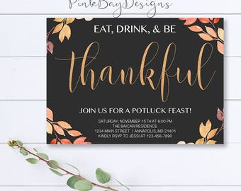 Eat Drink and Be Thankful Invitation, Thanksgiving Dinner Invitation, Friendsgiving Invitation, Thanksgiving Invitation, Fall Invitation