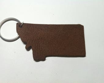 Montana leather keychain