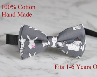 Boy Kids Baby Infants Children Rabbits 100% Cotton Easter GRAY GREY Bow Tie Bowtie 1-6 Years Old Wedding Party