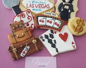 Cookies Las Vegas Travel Concert Decorated Iced Thank You or Custom~ 1/2 or 1 Dozen~Frost Yourself Cookies