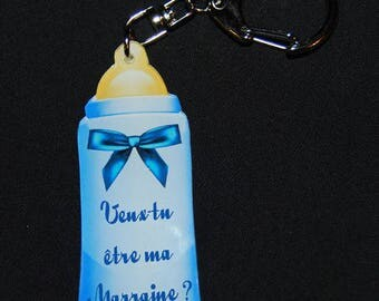 "Keychain blue bottle ""Will you be my godmother"""
