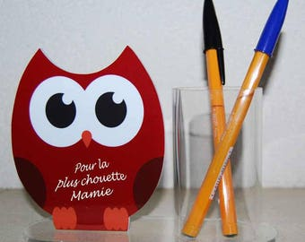 "Pencil holder OWL red message ""for the coolest Grandma"""