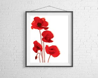 Modern Floral Prints, Poppy Prints, Poppy Art, Watercolor Art, Abstract Floral Prints, Flower Art, Modern Art, Modern Poppy Prints