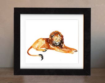 art, original, cat, lion, lion wall art, paintings, original art, gift, painting, decor, spirit, totem, animal, wild, gold, saltwatercolors