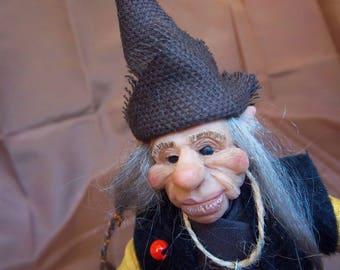 Aviros - ooak art doll naughty Elf - Elf on the shelf - sculpture fairy tale