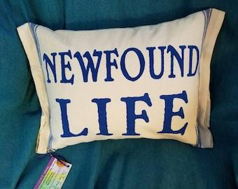 Newfound Lake pillow, with insert, lake pillow 12x17 pillow
