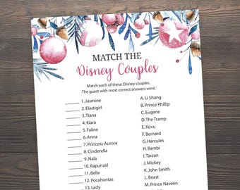 Winter Bridal Shower Games, Match the Disney Couples, Printable Bridal Shower, Disney Couples Match Game, Christmas, Ornaments, J020