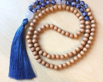 Wood Mala Beads - 108 Mala Necklace - Yoga Mala - blue sodalite