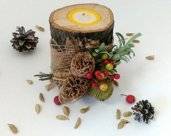 Rustic decorations Christmas candles Christmas Wood Candles Holiday centerpiece Christmas table decor Rustic candle holders