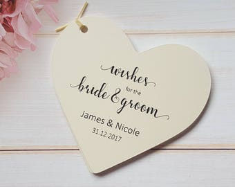 10 Large Personalised Wedding Wish Tree Tags - Ivory Cream - White - Kraft, Wishes for the Bride & Groom