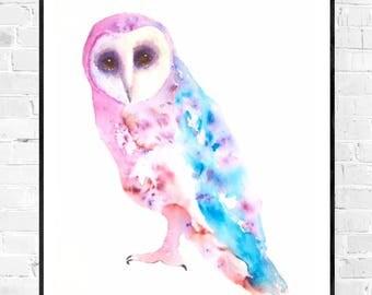 original owl painting-owls-owls OWL illustration art-watercolor-nursery art-owl lovers-wallart-colorful art-art-zen brusho ink watercolor