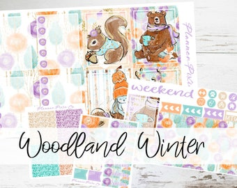 "Mini Kit // Weekly Sticker Kit // For Use With Erin Condren Life Planner // ""Woodland Winter"""