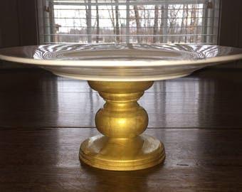 Gold Tone Pedestal Serving Platter