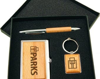 Business Card Case, Pen & Keychain, Silver/Wood Finish Gift Set