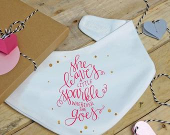Baby girls sparkle bandana bib - dribble bib, baby shower gift, Valentines day, Valentine baby, baby bib, newborn gift, new baby gift, pink