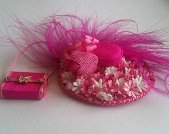 Silk Dollhouse Miniature Hat & Handbag in 12th Scale Handcrafted by me for you