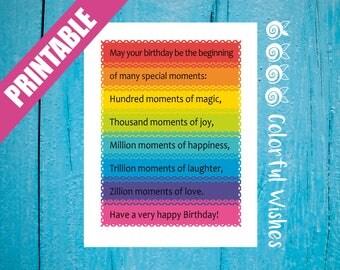 Rainbow Happy Birthday Card, Birthday Printable Card, Colorful Birthday Wishes, Friend Birthday Card, May your birthday be the beginning of