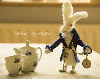 The White Rabbit Alice in wonderland style  Wiccan Art Doll