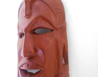 African Hand Carved Wooden Wall Mask made in Kenya.Ethnographic/Tribal wall mask