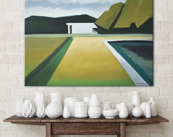 Abstract Green Landscape Painting, Modern Nature Landscape Art for livingroom art for dining room art for bedroom portrait modern landscape