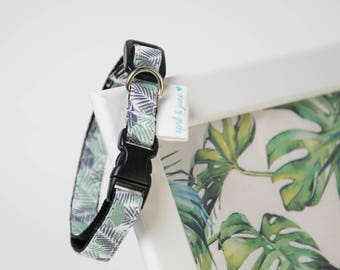 "Cat Collar Breakaway Buckle ""Tropical Leaf"""