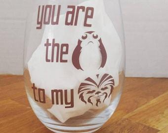 Star wars porg chewbacca wine glass