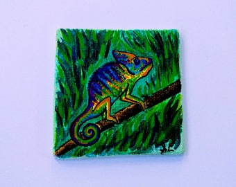 Original Ink Painting of a Chameleon