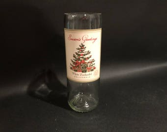 Season's Greetings Candle White Zinfandel  Wine Bottle Soy Wax Candle- Angle Cut
