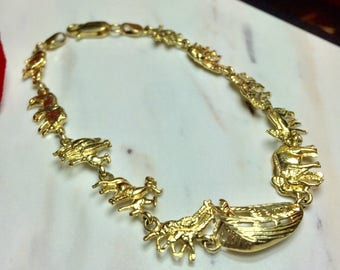 Vintage 14k Noahs Ark Bracelet