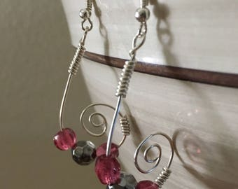 Silver and pink spiral earrings