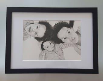 Family portrait A4 in graphite pencil