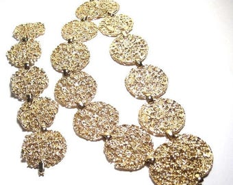 30% OFF A Pierre Cardin Necklace, 18 '' bracelet, 6.5'', gold hinges, Filigree 1 1/4'' round gold coins, pieces fold up, C1970 Midas JB136