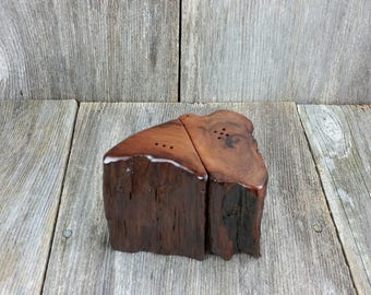 Redwood Rustic or Root Salt and Pepper Shakers Set Handmade #F