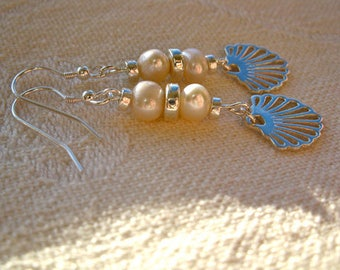 Compostela earrings ft Camino scallop shell + Pearls or Turquoise