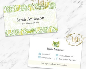 Essential Oil Business Card Template, Garden Business Cards, Business Cards, Floral Business Card, Digital, Herbs|BC Only