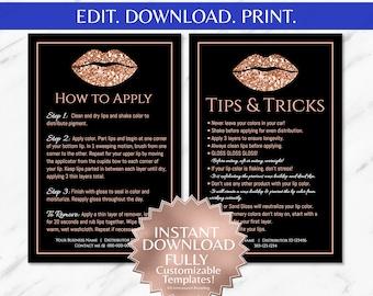LipSense LipSense Apply LipSense Tips and Apply Cards LipSense Application Instructions Rose Gold Black Glitter INSTANT