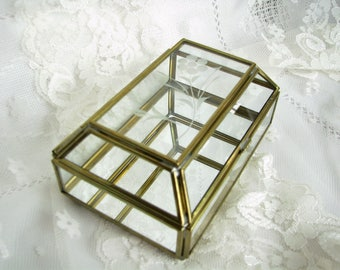 Glass box Glass Display Box Trinket Box Jewelry Storage Glass Terrarium Glass Brass Box Plant holder Home decor Jewelry Casket Retro decor