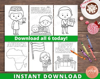 Kwanzaa Coloring Pages for Kids | Kwanzaa Digital Coloring Sheets | Happy Kwanzaa Kids Coloring Pages | Printables for Kids INSTANT DOWNLOAD