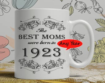 Best Mom mug any year available, the birthday custom personalized ceramic pottery coffee cup hand printed date born your choice  FF B Mom