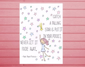 A6 Postcard Art Print- Catch a Falling Star- cute, happy, quirky greetings card