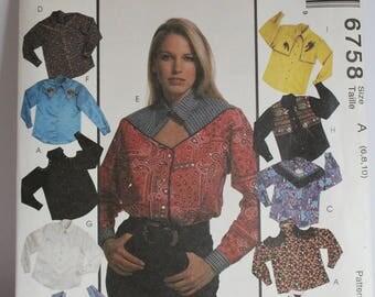 McCalls 6758 Women's western top pattern