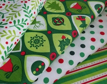 Christmas Stripe, White Dot, Ornaments or Merry Mistletoe Cotton Fabric
