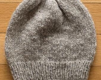 Handknit Baby Hat - beige, size 6 months