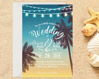 Beach Wedding Invitation with Setup, Destination Wedding, Beach Wedding, Tropical Wedding, Printable Wedding, Template, Wedding invitation
